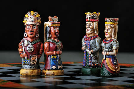 spaniards: Ecuadorian chess set between Spaniards and Incas
