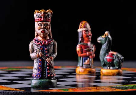 Pieces from an ecuadorian chess set between Incas and Spaniards