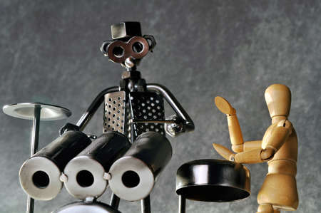 figurines: Two drummer figurines playing percussion  Stock Photo
