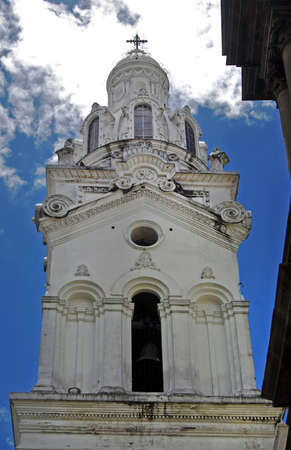 morals: Steeple of a Cathedral in Quito Ecuador, South America   Stock Photo