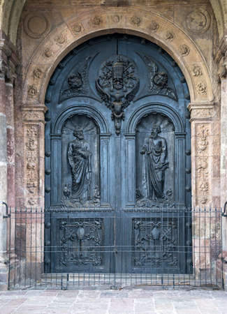 many doors: One of the many doors of Quito s Cathedral, Ecuador