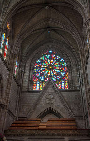 Stained glass inside the Basilica del Voto Nacional, in Quito