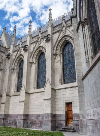 Side wall and entrance of the Basilica of Quito, Ecuador photo