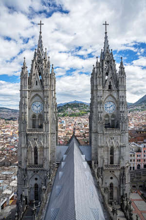 steeples: High view of the two steeples of the Basilica del Voto Nacional in Quito Ecuador