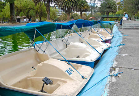 peddle: Pedal rental boats in a city park, Quito Ecuador