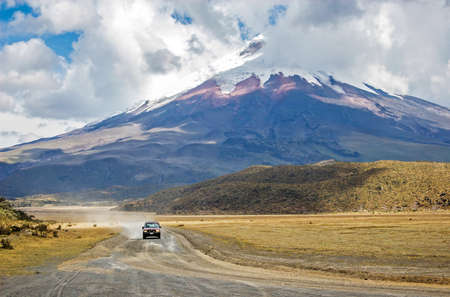 View of the majestic Cotopaxi volcano highest active volcano in the world on a sunny and cloudy day