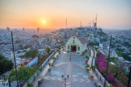 guayaquil: High view of a small chapel and the city of Guayaquil, Ecuador, from a lighthouse