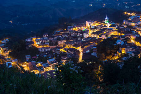 nightime: High view of the small town of Zaruma at nightime, in the middle of the ecuadorian andes Stock Photo