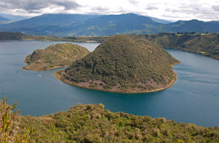 crater lake: View of the Cuicocha lake and volcano crater, with its center islands. Cuicocha, Ecuador, South America.