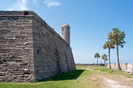 Walls and field of the Castillo de San Marcos fort in St. Augustine, Florida.