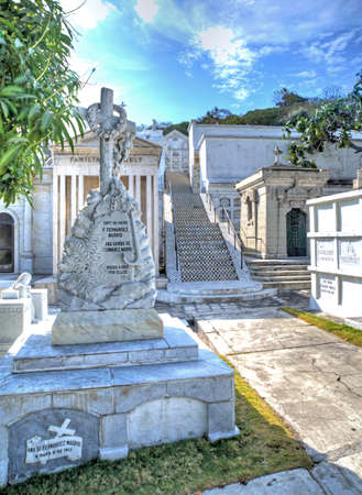 niches: View of crypts, niches and graves at a cemetery in Guayaquil, Ecuador