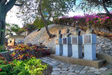 Head busts of national heroes in a park at the top of the Santa Ana hill in Guayaquil, Ecuador.