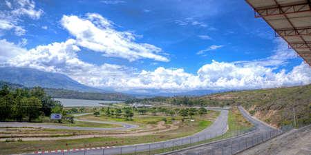 Auto race track Yahuarcocha, empty, on a sunny summer day