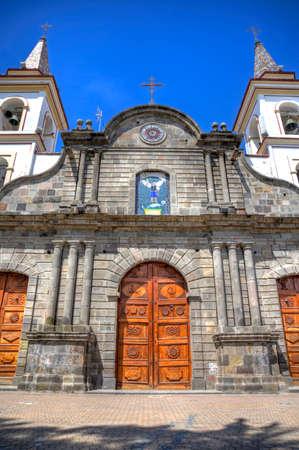 colonial church: Old colonial church facade, on a sunny day in Ibarra, Ecuador.