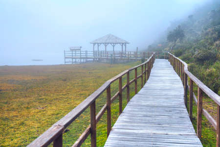 Wooden walkway that leads to the Limpiopungo Lake in the Cotopaxi National Park, on an overcast and foggy rainy day, Ecuador.