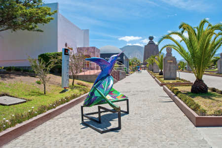 Artistic sculpture decorating the walkway to the Middle of the World monument, Ecuador. Editorial