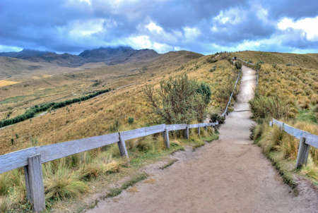national geographic: Walkway at the top of the Teleferico touristic attraction that leads to the high peaks of the Pichincha volcano. Quito, Ecuaor