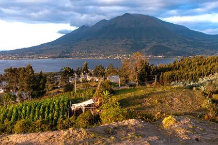 San Pablo lake, Imbabura volcano and surrounding fields, at sunset. Ecuador