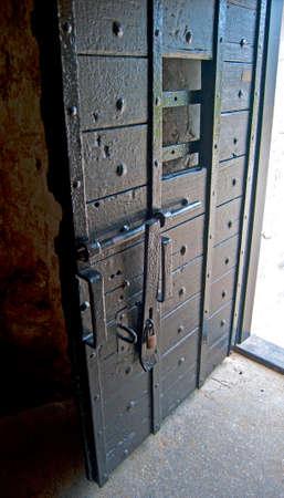 Wooden door in the interior patio of the old Castillo de San Marcos fort in Saint Augustine