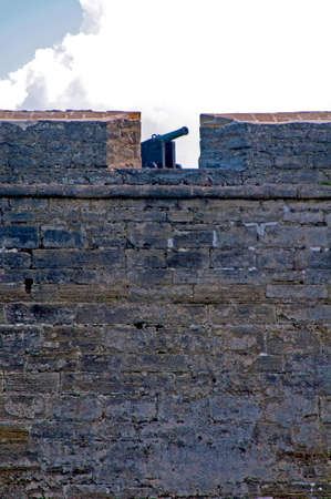 Cannon at the top of the south wall of the Castillo de San Marcos fort, Saint Augustine