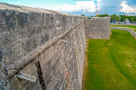 Walls of the Castillo San Marcos Fort in St. Augustine, FL, on an overcast day.