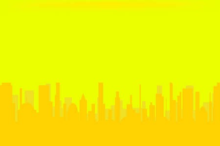 urban sprawl: Yellow Cityscape  Illustration