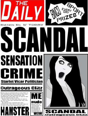 gossip: Typische Britse dagblad voorpagina Stock Illustratie