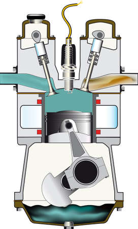 The induction stroke of a four stroke petrol engine  Illustration