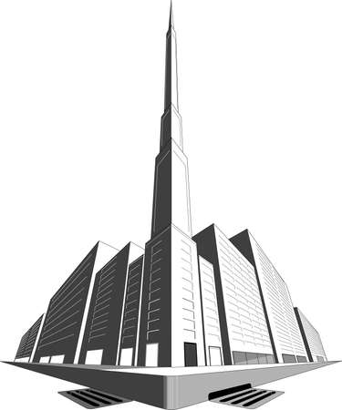 3 point perspective: A three point perspective of a city block Illustration