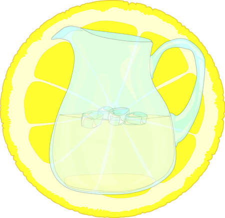 A jug of lemonade in front of a slice of lemon Vector