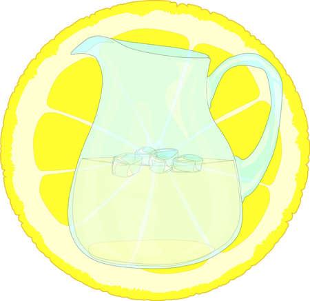 cordial: A jug of lemonade in front of a slice of lemon