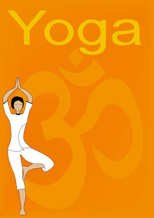 A woman practicing Yoga in front of a large depiction of the  OM  sign Stock Vector - 15189918