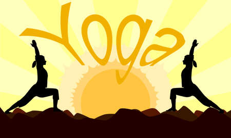 Two women in silhouette practicing a yoga pose at dawn sunset Vector