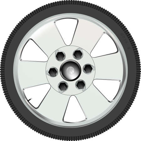 A low profile tyre on an alloy wheel Vector