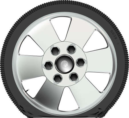 low tire: A punctured low profile tyre on an alloy wheel