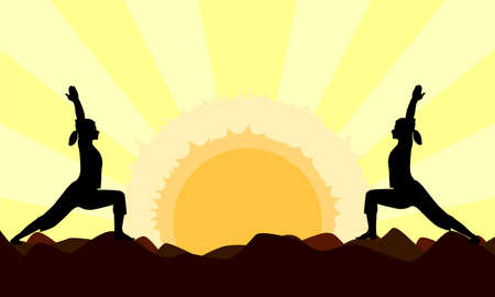 A landscape with the sunset as a backdrop to a pair of women performing a yoga asana Stock Vector - 15189886