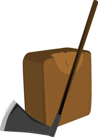 beheaded: A block and axe ad used as a form of execution in the middle ages  Illustration