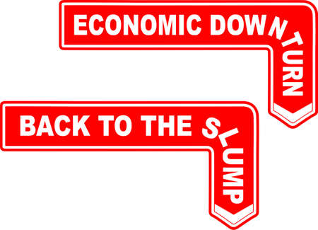 slump: Road sign arrows to the political slump and downturn