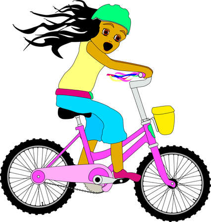 Little girl riding a bicycle Vector