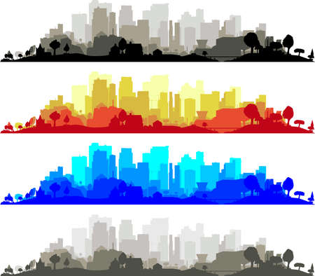 The very edge of a city, trees and all, including a little bit of construction right in the middle. Stock Vector - 15190420