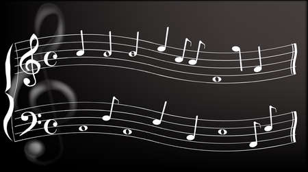 A wavy musical stave with random notes, A large metallic treble clef sits in the background Illustration