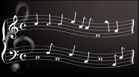 estrofa: Un musical ondulado pentagrama con notas al azar, un gran met�lica clave de sol se sienta en el fondo