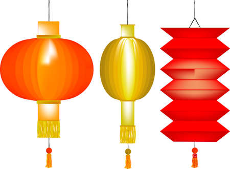 3 Chinese Paper Lanterns Vector