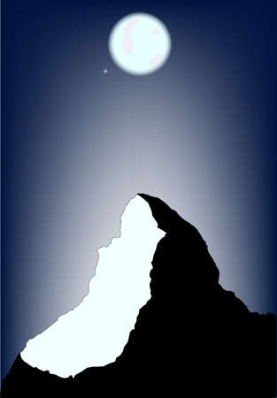 A view of the Matterhorn on a full moon. Stock Vector - 15089577