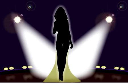 venue: Silhouette di una ragazza cantante sul palco illuminato dalle luci teatrali. Vettoriali