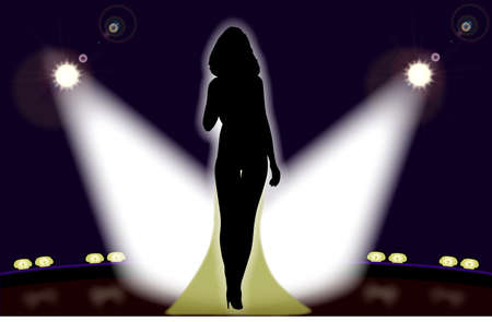 Silhouette of a girl singer on stage illuminated by the theatre lights.