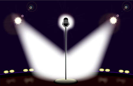 A lone microphone on a well lit stage ready for the performer. Illustration
