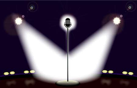 fari da palco: Un microfono solitario su un palco ben illuminato pronto per l'esecutore. Vettoriali