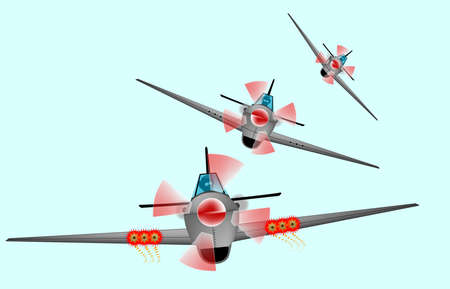 WWII Fighter planes swooping down in formation Vector