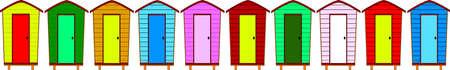 Ten Beach Huts With Copyspace Stock Vector - 15406208